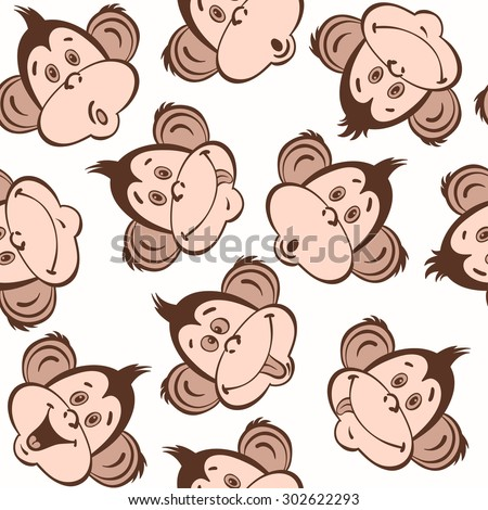 Seamless pattern with cute faces of monkeys. Kids  background. - stock vector