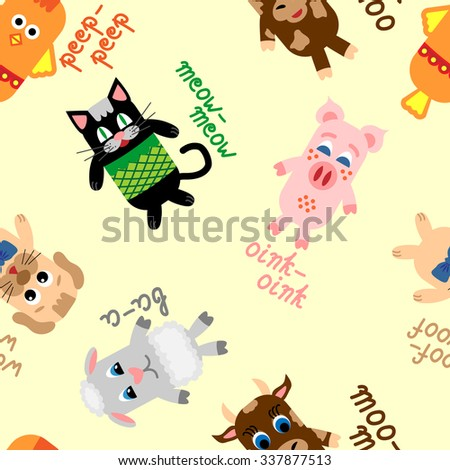 Seamless pattern with cute farm animals, including chicken, cat, pig, sheep, dog, and cow on yellow background - stock vector