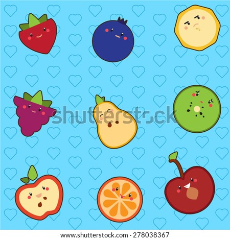 Seamless pattern with cute fruits - stock vector