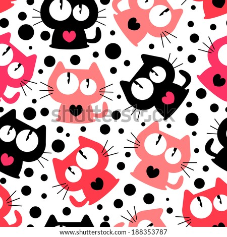 Seamless pattern with cute funny cartoon cats. Vector seamless texture for wallpapers, pattern fills, web page backgrounds - stock vector