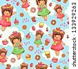 seamless pattern with cute girls and sweets (JPEG available in my gallery) - stock vector