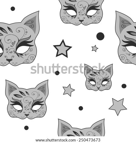 Seamless pattern with cute gray cats mask and stars. Vector version - stock vector