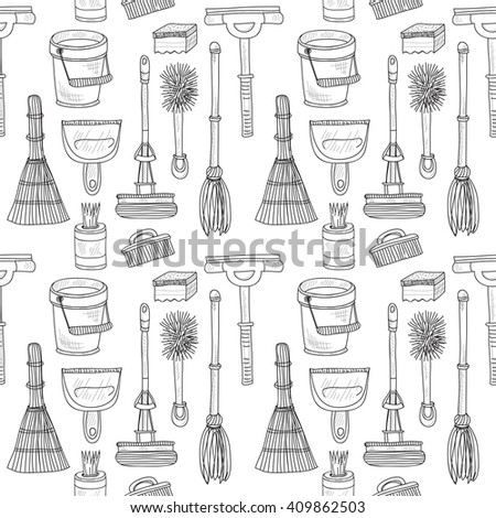 Seamless pattern with cute hand drawn house cleaning tools. Vector cleaning collection - stock vector