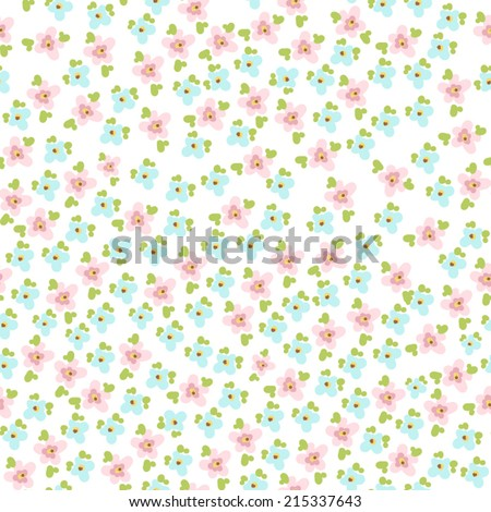 seamless pattern with cute little flowers. Vector - stock vector