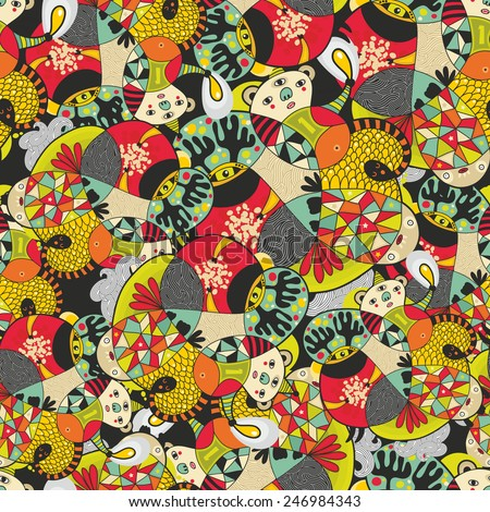 Seamless pattern with cute monsters. Vector illustration in bright colors. Hand drawn. - stock vector