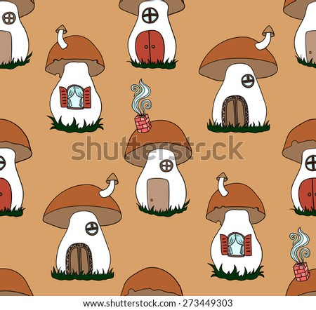 Seamless pattern with cute mushrooms. Mushrooms as a house. Vector background - stock vector