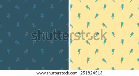 Seamless pattern with cute parrots on yellow and navy background - stock vector