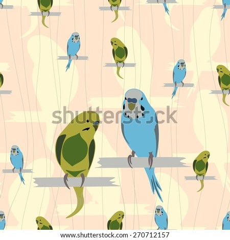 Seamless pattern with cute parrots on yellow and pink background. Vector illustrations. - stock vector