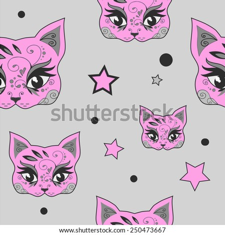 Seamless pattern with cute pink cats and stars. Vector version - stock vector