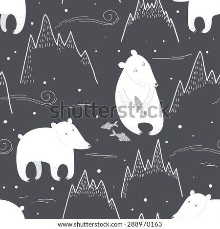 Seamless pattern with cute polar bears at night. Vector illustration - stock vector