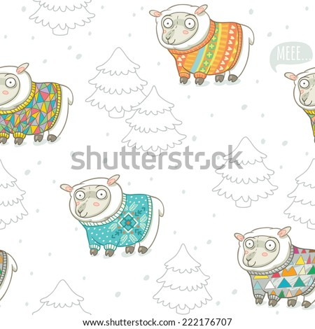 Seamless pattern with cute sheep in knitted sweaters - stock vector