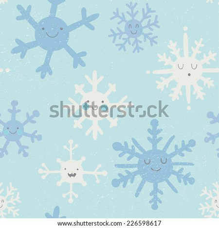 Seamless pattern with cute snowflakes in cartoon style. Adorable snow flakes smiley characters. Funny christmas doodle background. - stock vector