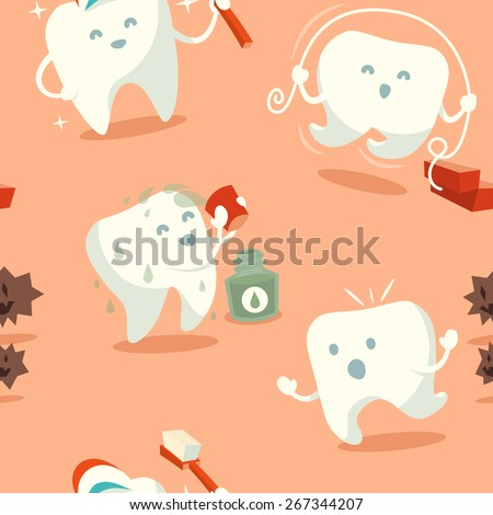 Seamless pattern with cute tooth. Vector illustration. - stock vector