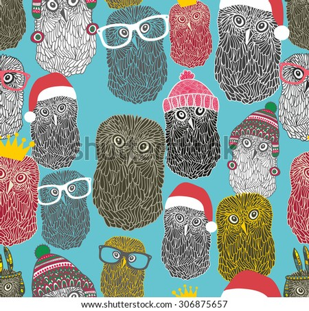 Seamless pattern with cute winter owls. Funny party of forest birds. Vector repeated background. - stock vector