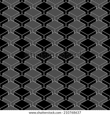 Seamless pattern with 3-D effect cubes in perspective. Variant 01 White line on black background. Graphic vector illustration clip-art web design elements save in 8 eps - stock vector