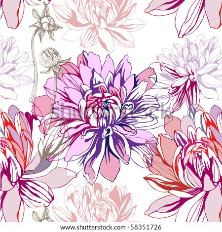 seamless pattern with dahlia - stock vector