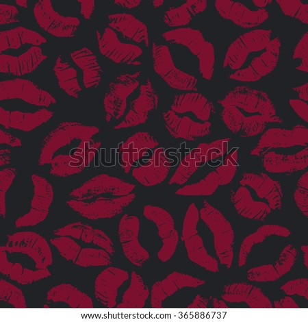 Seamless pattern with dark lipstick kisses. Different imprints of dark red lipstick isolated on a black background. Can be used for design of fabric print, wrapping paper or romantic greeting card - stock vector