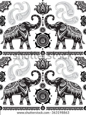 Seamless pattern with decorated elephants  - stock vector