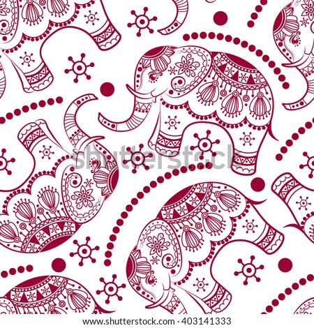 Seamless pattern with decorated elephants. Ethnic elephant. Texture with stylized patterned elephants in Indian style. Vector endless background - stock vector