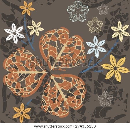 Seamless pattern with decorative clover leaves and floral elements.Template for design fabric, covers and wrapping paper. - stock vector