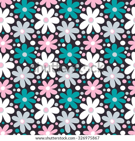 Seamless pattern with decorative daisy flowers - stock vector