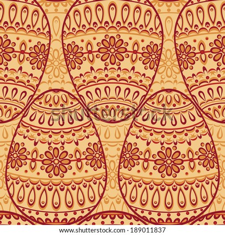 Seamless pattern with decorative eggs. Beautiful ornament in folklore style. Vector colorful background. - stock vector