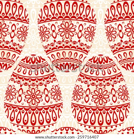 Seamless pattern with decorative eggs. Ornamental red and white background. Vector colorful illustration. - stock vector