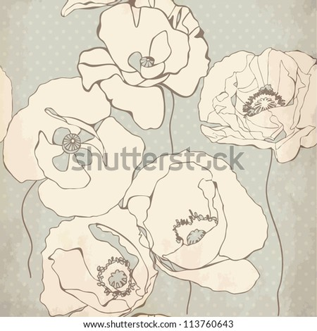 Seamless pattern with decorative poppy flowers on grey background. Vintage vector illustration - stock vector