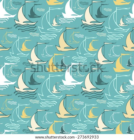 Seamless pattern with decorative sailing ships on waves. Vector illustration - stock vector
