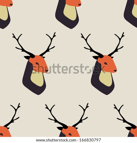 Seamless pattern with deer - stock vector