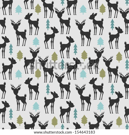 Seamless pattern with deer and trees - stock vector
