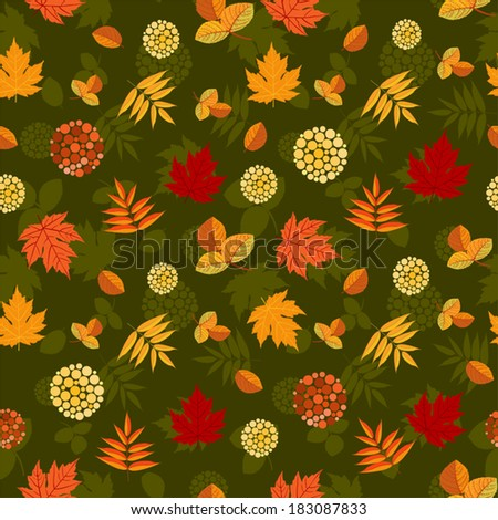 Seamless pattern with different autumn leaves, abstract berries and dark background with leaves silhouettes. Vector is EPS8, all elements are grouped. - stock vector