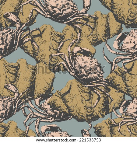 Seamless pattern with different crabs and shells - stock vector