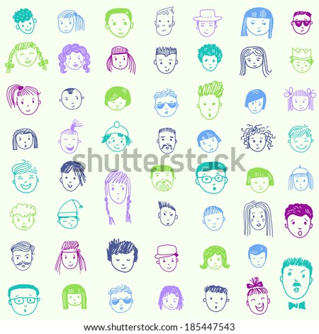 Seamless pattern with 53 different funny faces. Cartoon vector set.   - stock vector