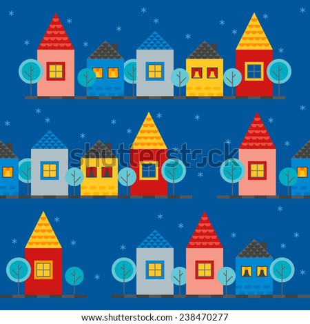 Seamless pattern with different houses in Red, Yellow, Grey and Blue colors. Streets in winter night. Perfect for wrapping paper, web page background, textile. Flat design vector illustration - stock vector