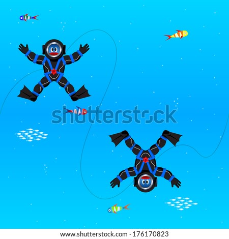 Seamless pattern with divers in deep sea - stock vector
