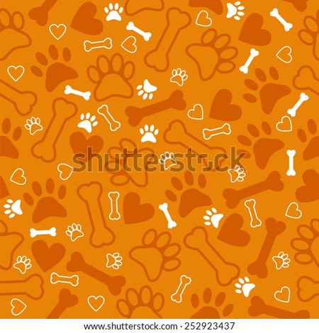 Seamless pattern with dog paw print, bone and hearts. Orange background. Vector illustration - stock vector