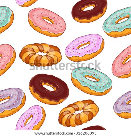 Seamless pattern with donuts. - stock vector
