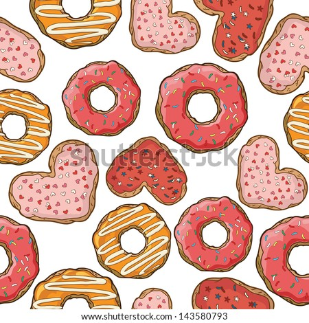 Seamless pattern with donuts and cookies - stock vector
