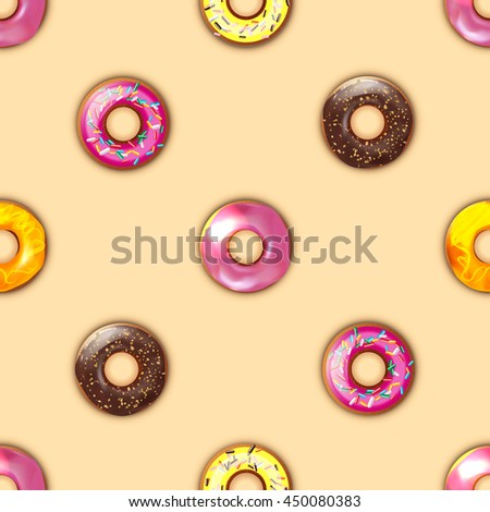 seamless pattern with donuts  with chocolate on a beige background  - stock vector