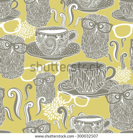 Seamless pattern with doodle cups with hot drink and hipster owls in eyeglasses. Vector background. - stock vector