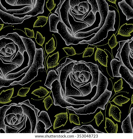 Seamless pattern with dotted white roses and green leaves on the black.  Floral background in dotwork style. - stock vector