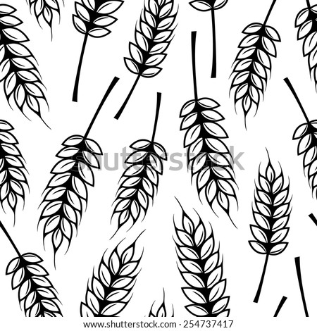 Seamless pattern with ears of wheat - stock vector