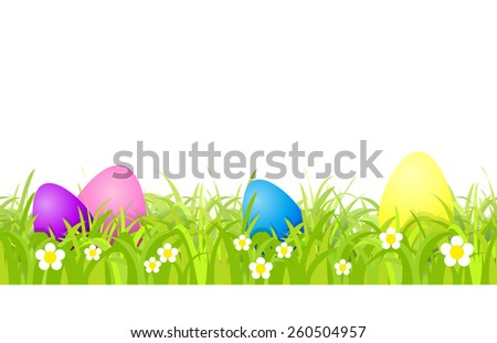 Seamless pattern with Easter eggs and grass - stock vector