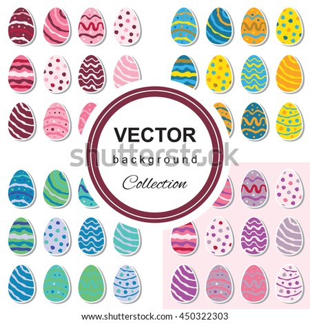 Seamless pattern with easter eggs. Multicolored background set - stock vector