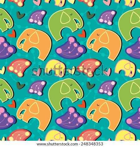 Seamless pattern with elephants and hearts. - stock vector
