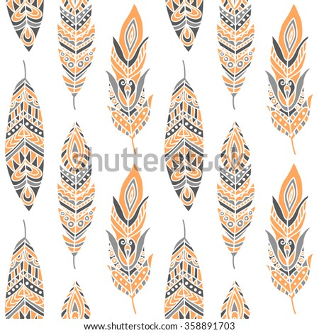 Seamless Pattern with Ethnic Feathers, can be used for wallpaper, web page background, greeting cards, fabric print - stock vector