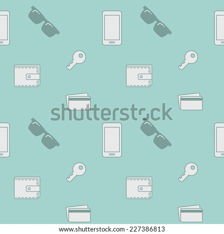 Seamless pattern with everyday objects: sunglasses, key, phone, wallet, credit cards. - stock vector