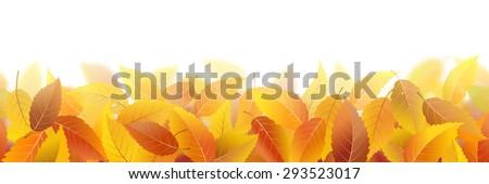 Seamless pattern with fallen autumn leaves, vector illustration - stock vector