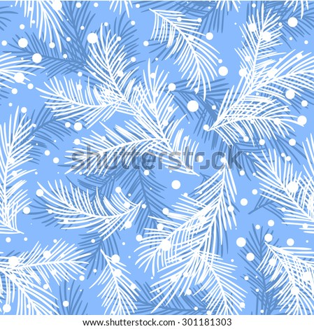 Seamless pattern with fir branches.Christmas and New Year background. Vector illustration. - stock vector